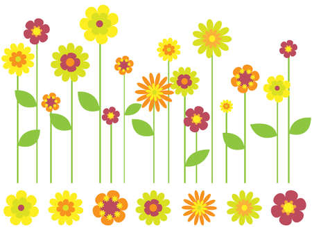 bright flower border and individual flowers Stock Vector - 7986913