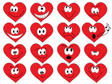 set of smilies of heart shape with many emotions Vector