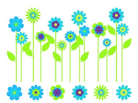 Elegant bright flower border and individual flowers Vector