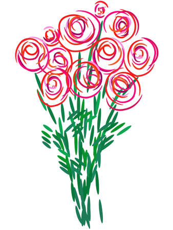 illustration  bouquet of roses Illustration