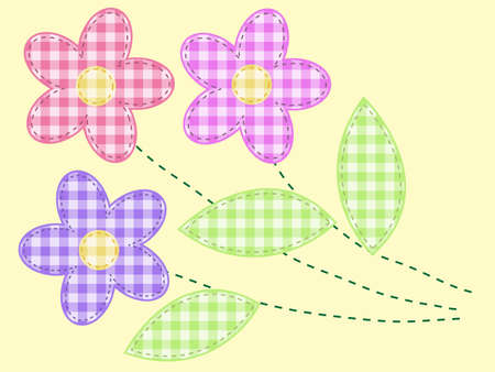 embroidery on fabric: applique flowers from checkered fabric Illustration