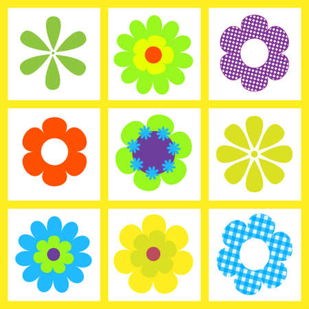 verde y morado: Ilustraci�n de flor de brigt retro