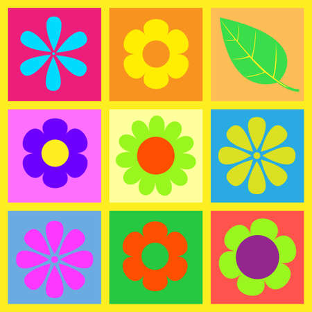 retro bright flower  illustration 向量圖像