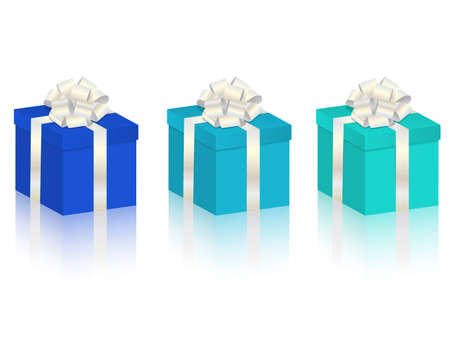 gift boxes in 3 different colors Illustration