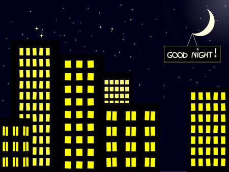 buonanotte: scenario serale di costruzione di città con luna Vettoriali