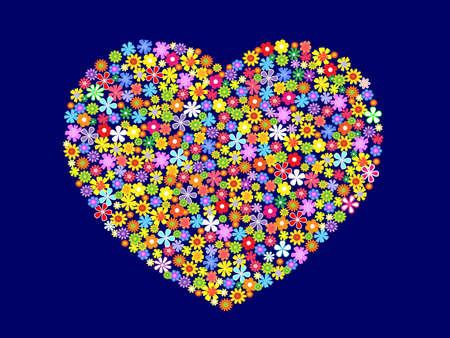 contorno coraz�n de flores