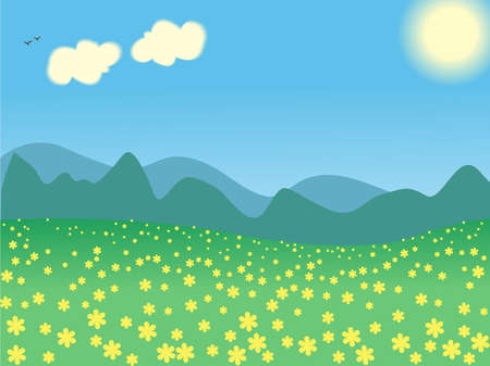 illustration summer day landscape Stock Vector - 7988589