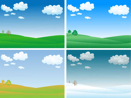 peaceful and calm four seasons landscape Illustration