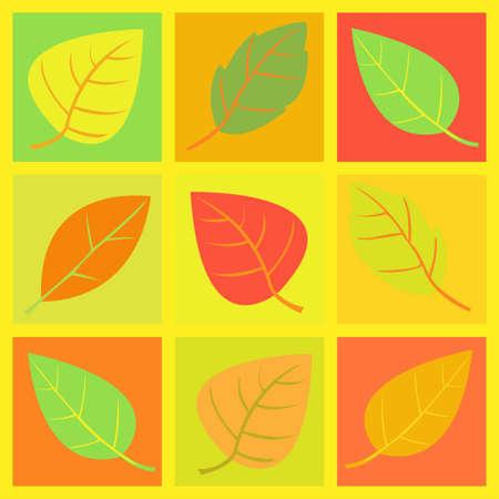 retro autumn leaves     illustration Vector