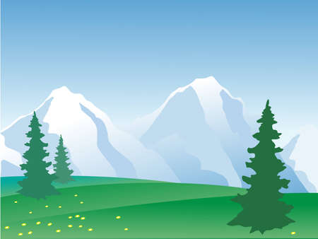 illustration of summer in the mountains Illustration
