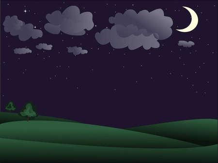 noche y luna: Escenograf�a de la noche - dos �rbol lejos y cielo tachonado de estrellas