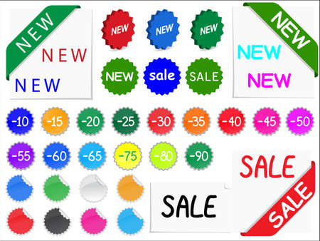 set of tags for discount prices Illustration