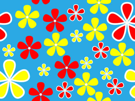 cerulean:  seamless multi-colored floral pattern