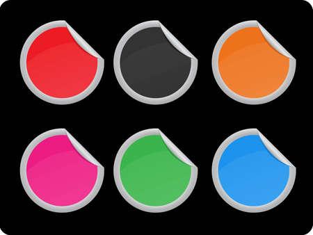 sticker set in 6 colors Illustration