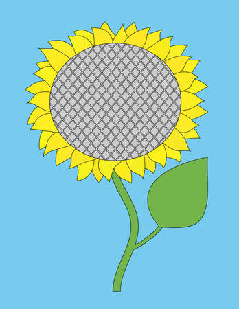 going green: sunflower on a blue background