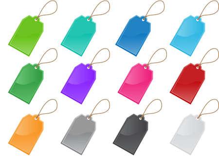 etiqueta de precio y etiquetas en 12 colores  Vectores