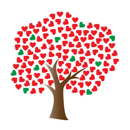 a love tree with heart-shaped leaf Vector
