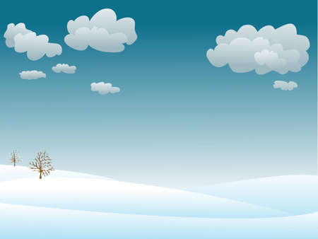 calm and snowy winter landscape Illustration