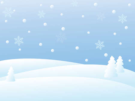 snowy winter landscape illustration Illustration
