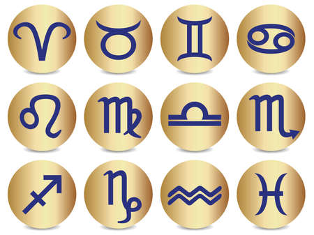 Icons depicting the twelve signs of the zodiac.
