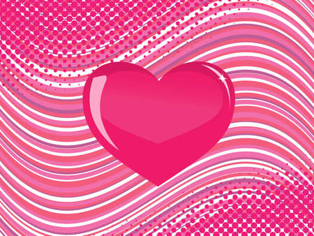 pink  glass heart on a striped background with halftone elements