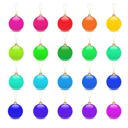 christmas balls decoration icon set Vector