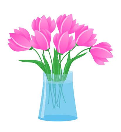 flores de la ilustración en florero de vectores
