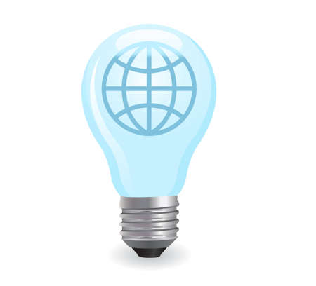 utilization: electric light bulb with the earth icon