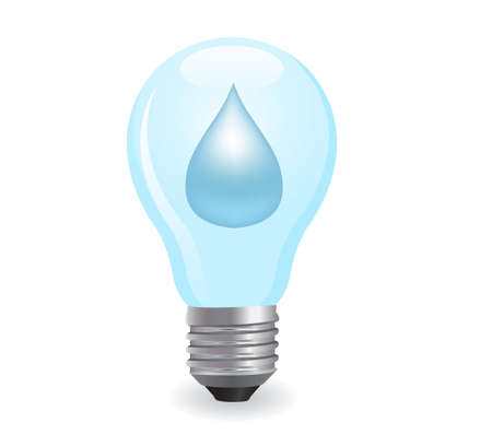 environmental pollution: electric light bulb symbolizing energy of water