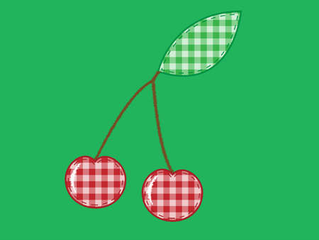 cherry applique  of checkered fabric