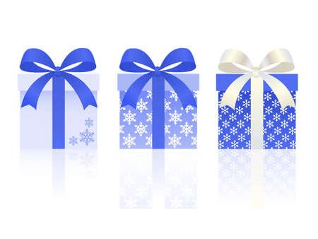 boîtes de cadeau de Noël défini avec le patron de flocon de neige