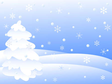 snowy winter landscape.vector illustration Stock Vector - 8155637