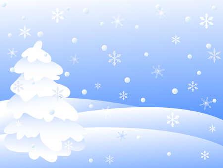 snowy winter landscape.vector illustration Stock Vector - 8155637