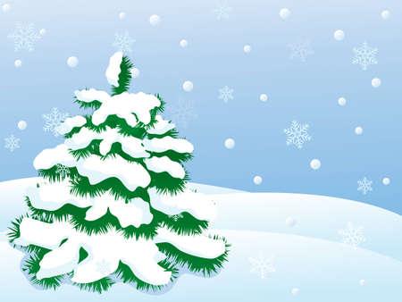 Ilustraci�n de landscape.vector de invierno cubierto de nieve  Vectores