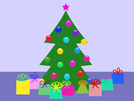 christmas tree with gifts.vector illustration Vector