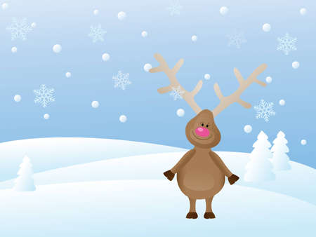 snowy christmas landscape with deer Vector