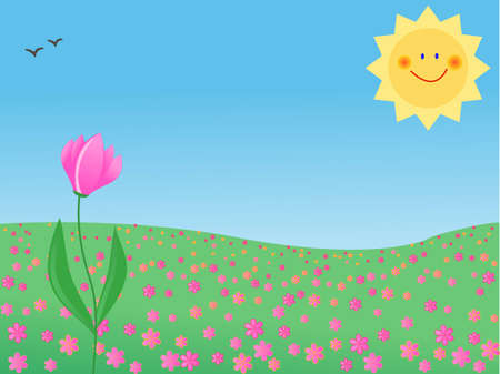 summer meadow with a single flower Vector