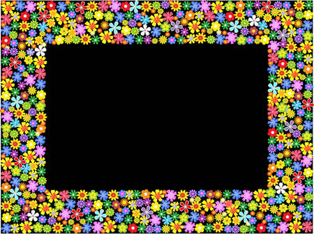 cute flowers: bright floral frame.vector illustration