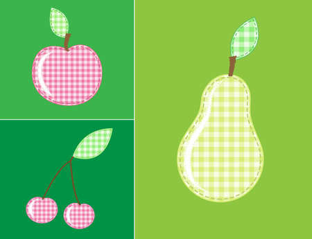 applique fruits and berries of checkered fabric