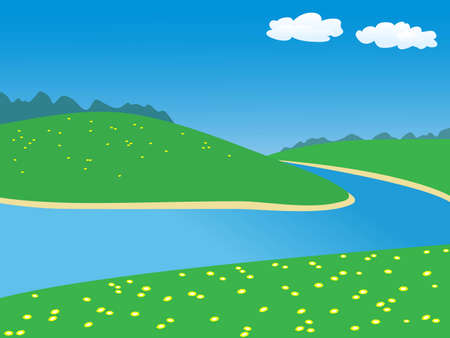 landscape with river.vector illustration
