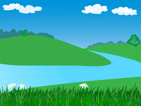 landscape with river.vector illustration Illustration