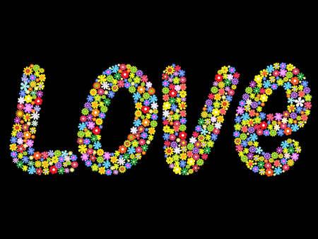 vector woord liefde van bloemen