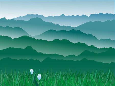 panorama de la ilustraci�n de mountains.vector