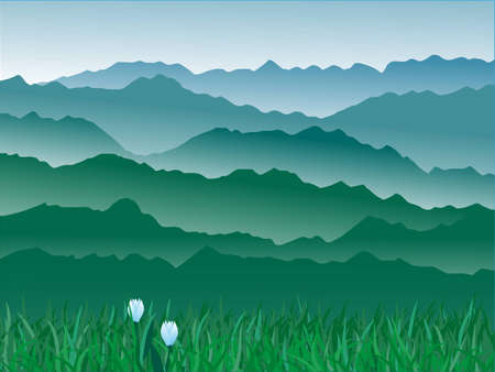 valley: panorama of mountains.vector illustration