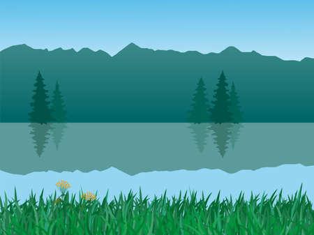 prato montagna: illustrazione vettoriale delle montagne e del lago paesaggio
