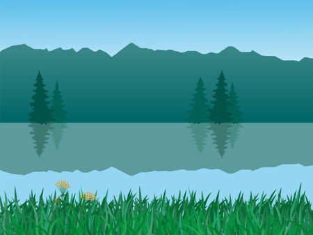 vector illustration of mountains and lake landscape
