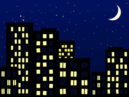 good evening: night scenery of building city with moon Illustration