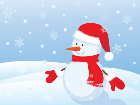 snowman in winter landscape Vector