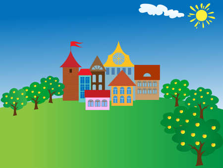tales: cartoon old town.vector illustration