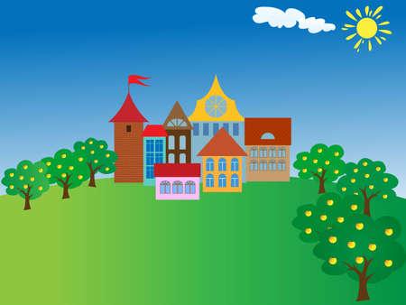 Ilustraci�n de town.vector antiguo de dibujos animados